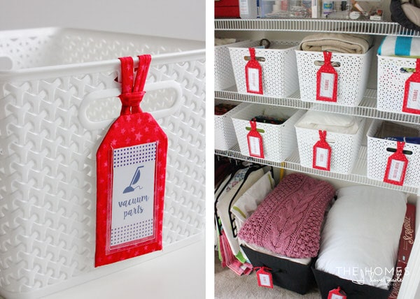 Target Y-Weave Baskets are great for the linen closet!