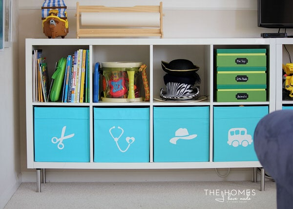 IKEA DRONA bins are great for the playroom!