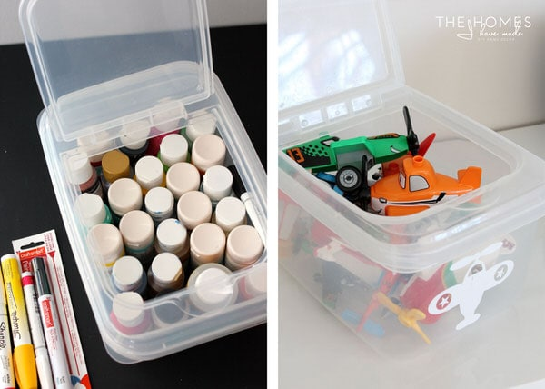 Flip-top plastic boxes for craft supplies and toys
