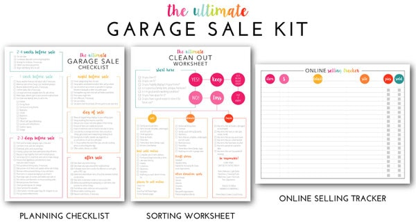 picture regarding Printable Garage Sale Price List named The Greatest Garage Sale Prep Package (a Extensive Printable