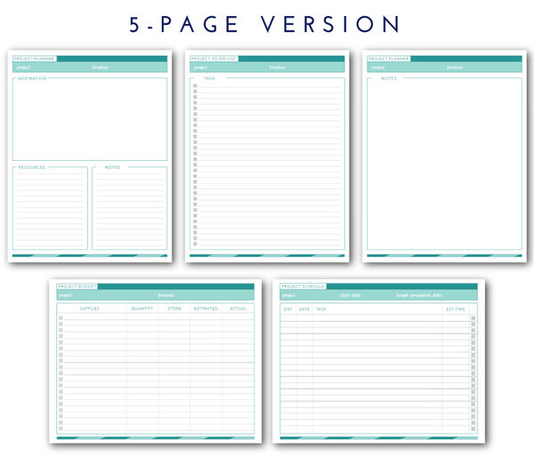 Printable Project Planner The Homes I Have Made