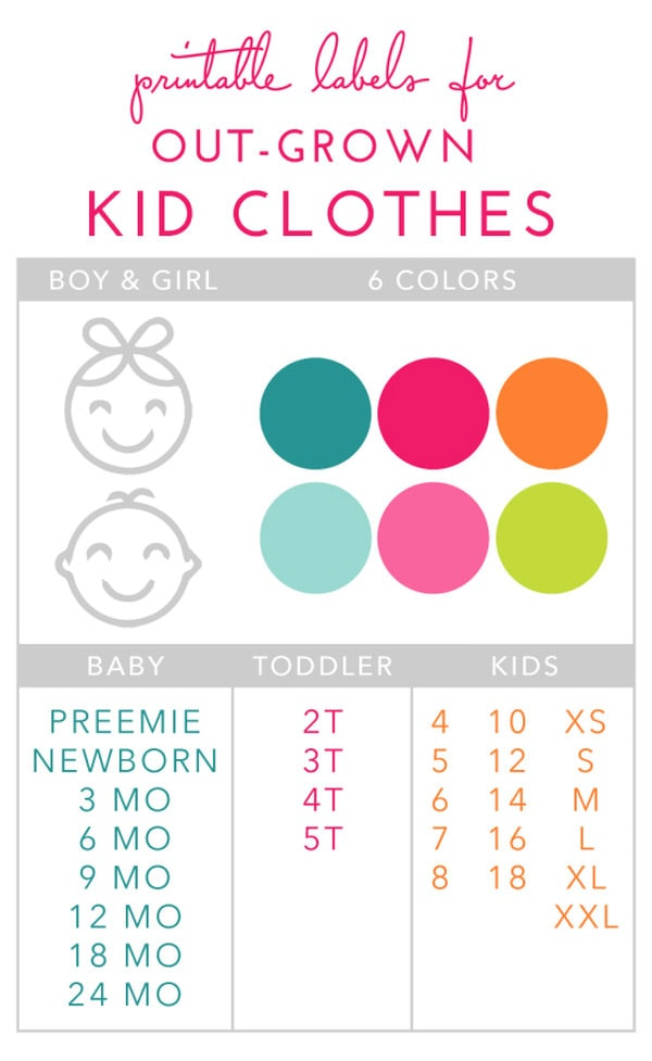 Printable labels for out-grown kids' clothes!