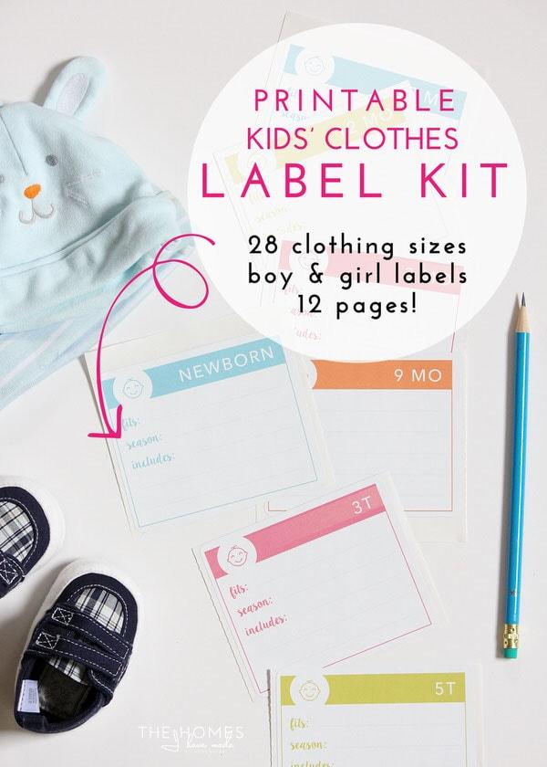 Printable Kids' Clothes Label Kit