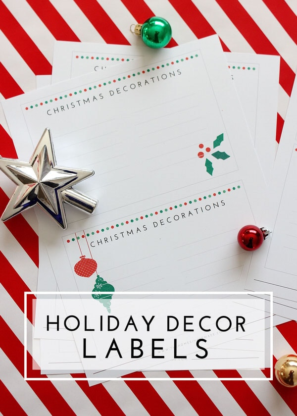Use these printable holiday decor labels to organize your bins and label them for easy finding next season!