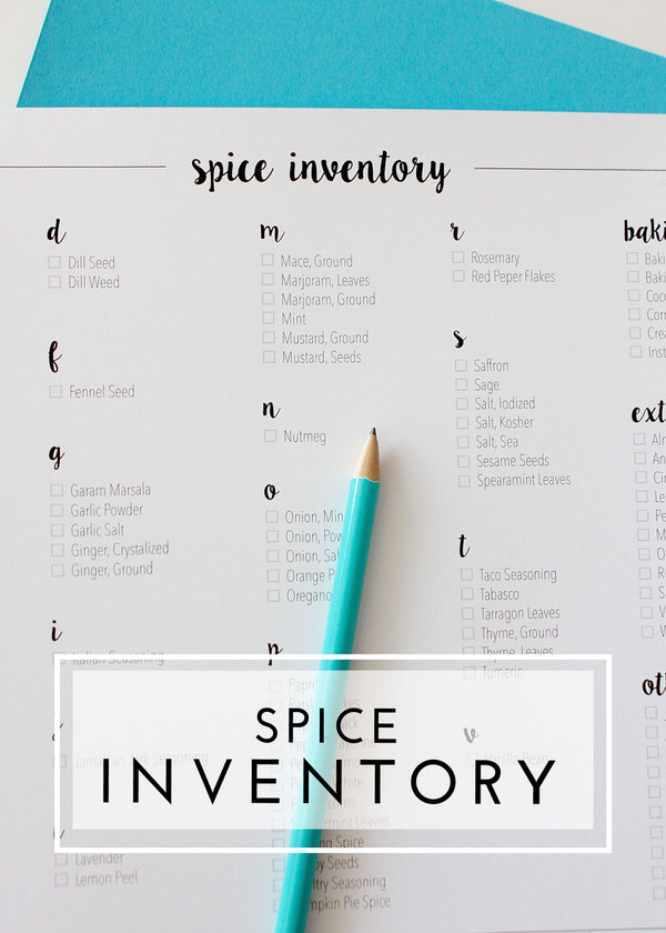 Keep track of all the spices you have on hand with this Spice Inventory!