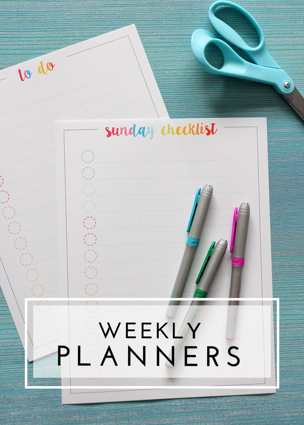 Keep track of all your weekly to-do's with these pretty printable planners.