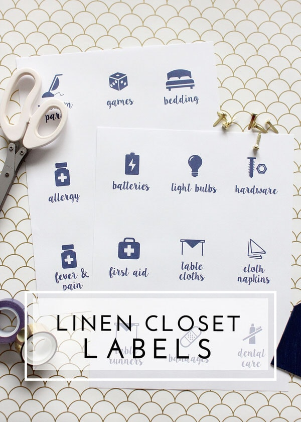 Get your linen closet organized with these pretty printable labels!