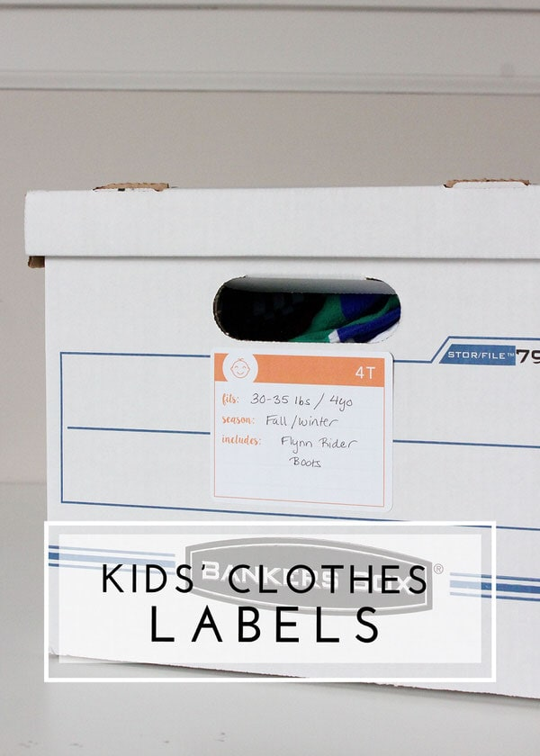 Get those kids' clothes labeled correctly for deep storage or up-coming sales with these printable labels!