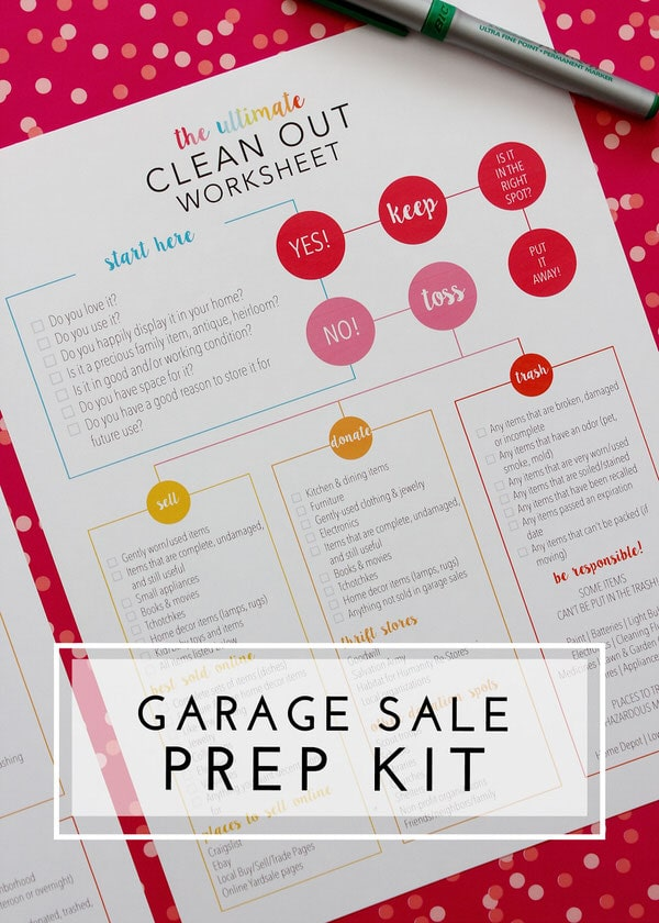 The Garage Sale Prep Kit helps you plan every detail for your next garage sale!