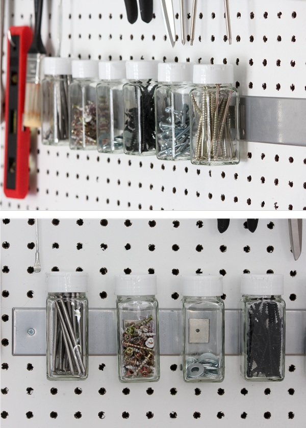 MagnetJar Spice Jars are a great way to sort and organize hardware to keep them always at the ready!