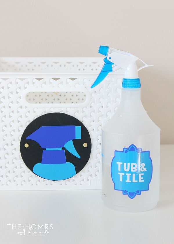 Make colorful labels for your cleaning supplies with a Cricut Explore!