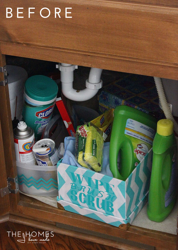 Under the Kitchen Sink Storage for Cleaning Supplies   Before