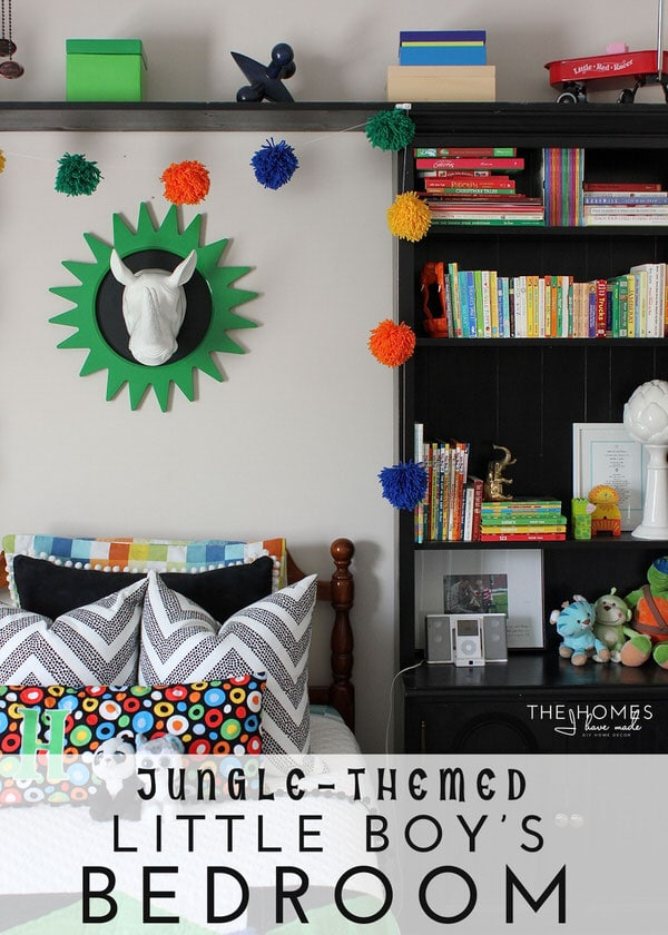 Check out this adorable jungle-themed little boy's room! It's full of easy and colorful DIY projects, playful accessories and fun decor ideas...perfect for a growing and active little boy!
