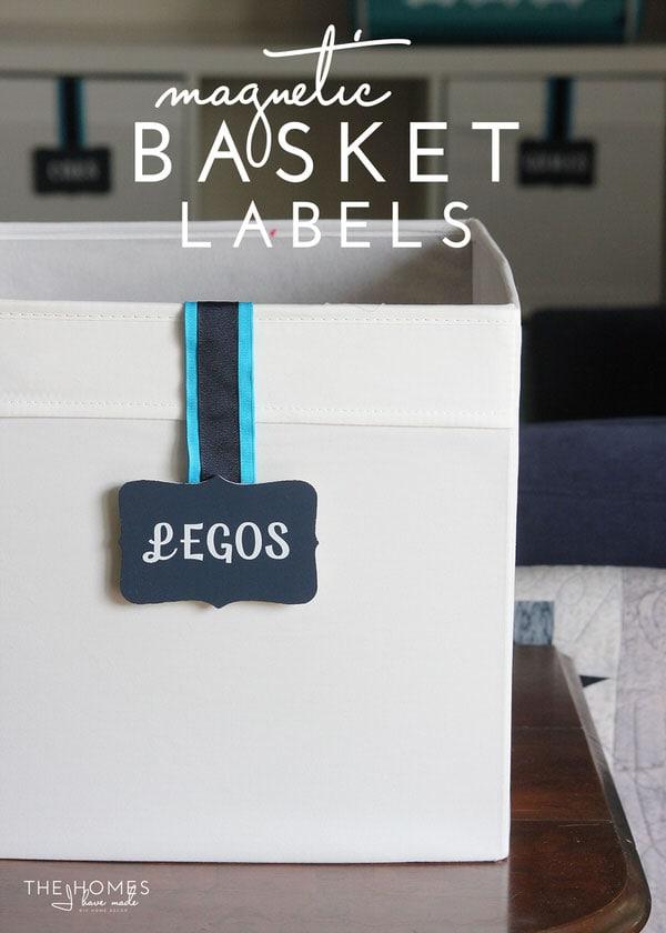 DIY Magnet Basket Labels - a great damage-free option for labeling ANY bin or basket!