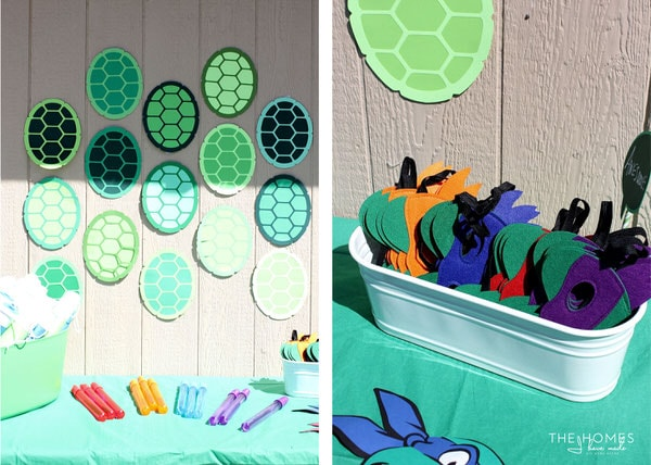 Let the kids get dressed up as Ninja Turtles with masks, bubble swords, and foam nunchucks!