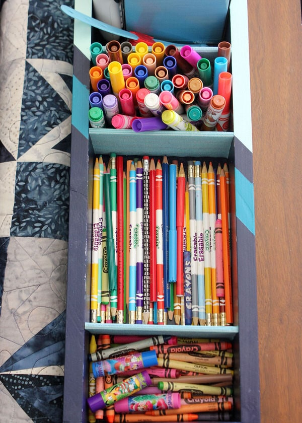 Find an old wooden toolbox in your favorite antique store? Use this simple method to transform it into the perfect coloring caddie!
