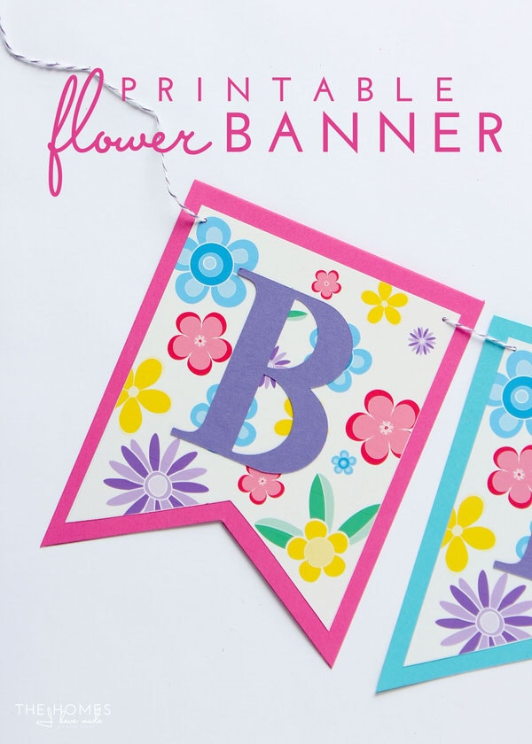 picture relating to Free Printable Flowers referred to as Tremendous Very simple Do it yourself Flower Banner (with Cost-free Printable Down load