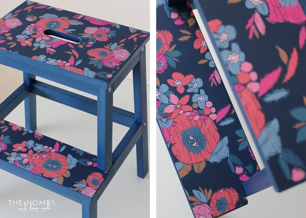Cover an IKEA stool in colorful wallpaper to make a perfectly tailored room accessory!