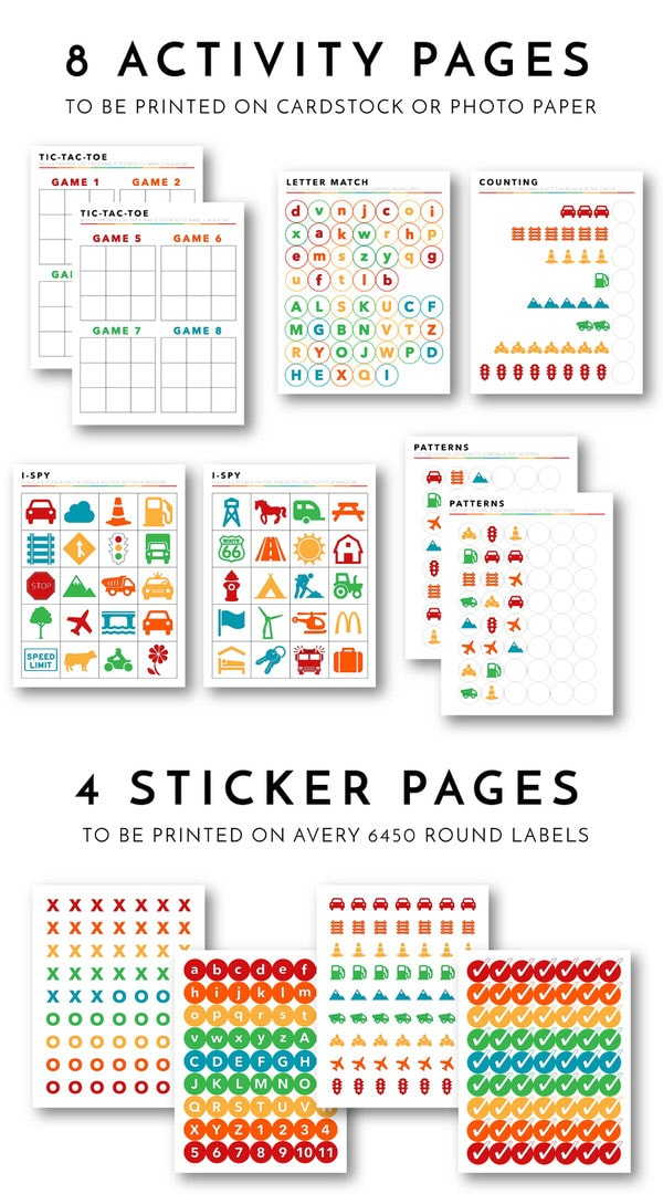 photograph relating to Printable Activity Books called Printable Highway Holiday Match and Sticker Guide! The Properties I