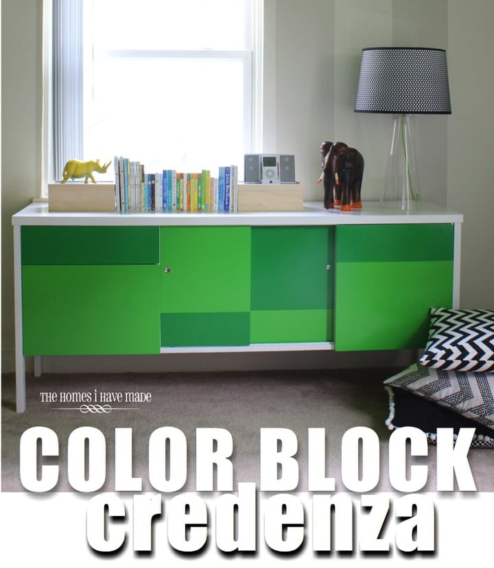 Green Color Block Credenza-018