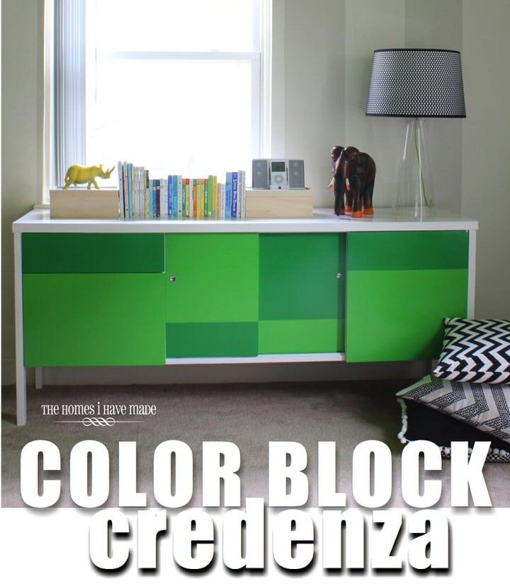 Green Color Block Credenza-018