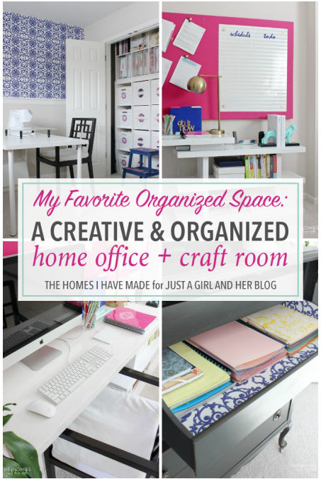 Come visit Megan from The Homes I Have Made at Just a Girl and Her Blog to get the behind-the-scenes scoop on how this home office and craft room functions!
