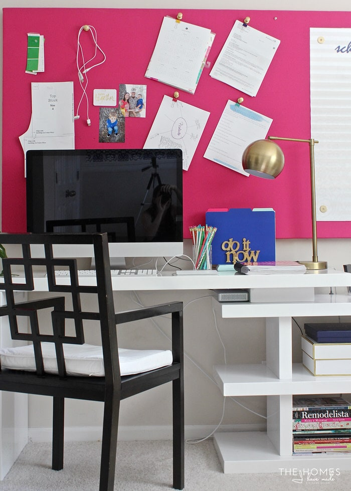 Check out this fresh, modern and bold home office full of great organization solutions fora multitude of craft and office supplies!