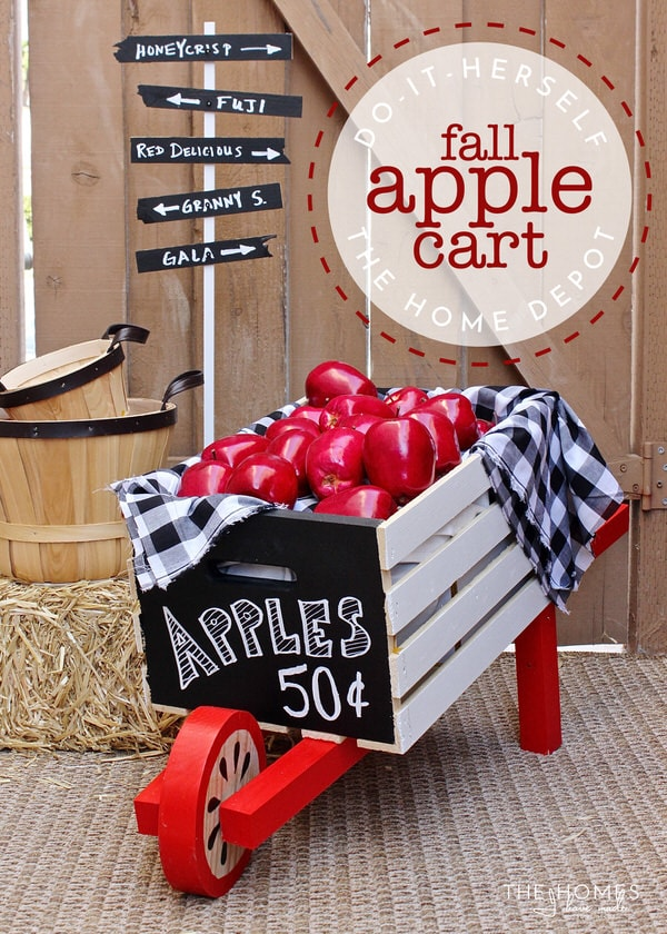 Make a Rustic Wheelbarrow at The Home Depot's #DIHWorkshop and then transform it into a Charming Apple Cart using this simple tutorial!