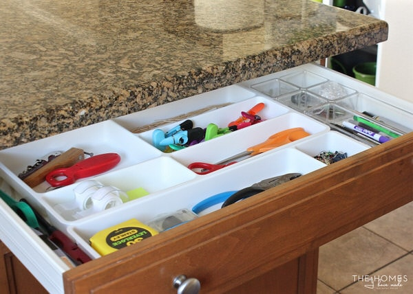 Organized junk drawer with IKEA drawer dividers