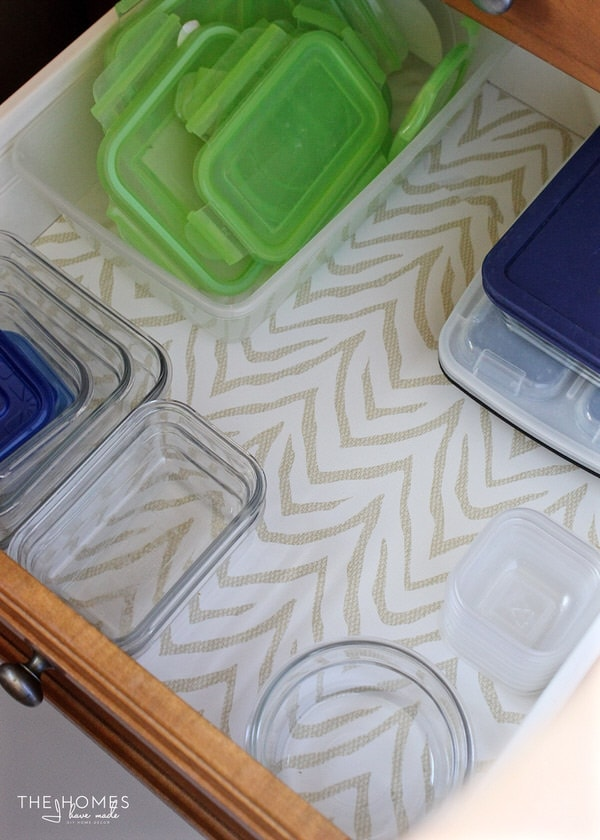 Use pattern drawer liner in your organized kitchen drawers to keep them clean and looking pretty
