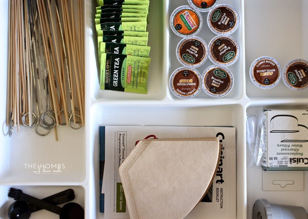 Coffee supplies gathered together in a kitchen drawer