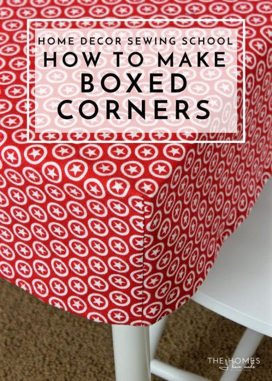 Learn the simple sewing technique for giving a flat piece of fabric boxed corners to fit over tables, cushions and more!