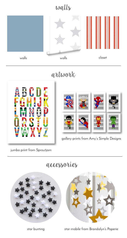 Design Board for a Super-Star-Themed Baby Boy Nursery!