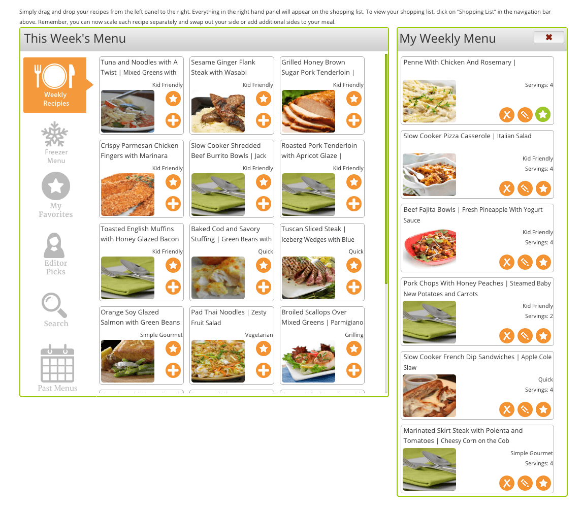 Relish Online Meal Planning Program