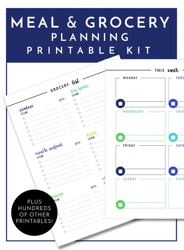 Get your meal planning and grocery shopping on track with the worksheets in The Ultimate Kitchen Printable Pack - 200+ printable pages to organize and improve function in every area of your kitchen!