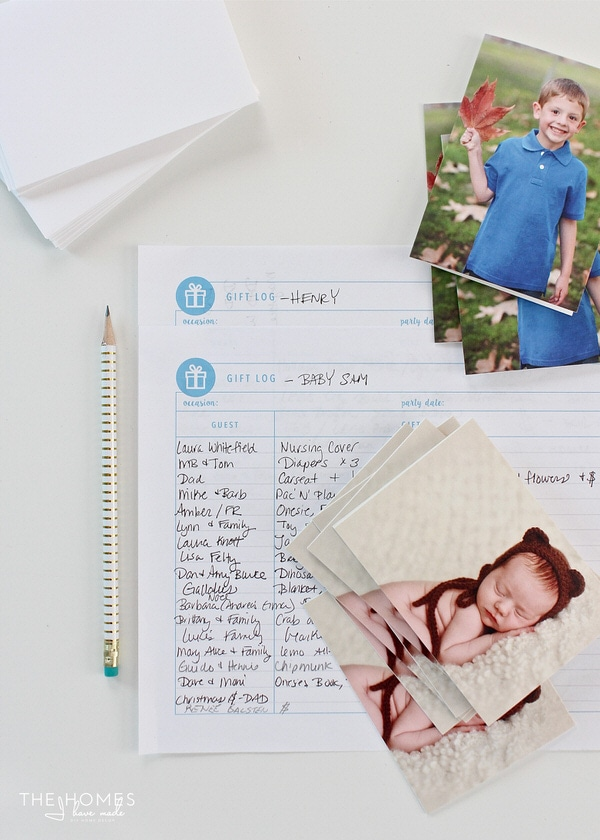 "Use your favorite pictures as a fun, easy, and super special way to say ""thank you"" for gifts. This printable gift and thank you tracker helps you keep your card writing on organized and on track!"