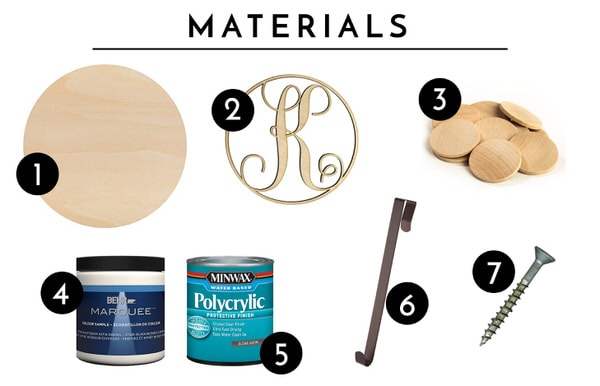 "Combine an off-the-shelf wooden round with paint and a custom monogram to create a personalize and eye-popping ""wreath"" that can stay up year round!"