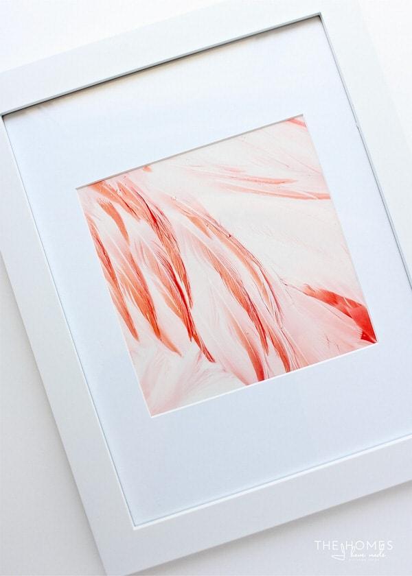 a custom framed picture of a flamingo art print.