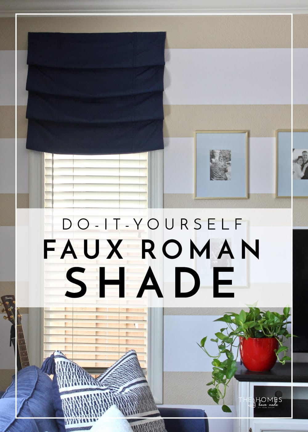 Love the look of a roman shade but don't want to deal with the hassle or expense? Try this hardware free, totally temporary faux roman shade for any window in your home!