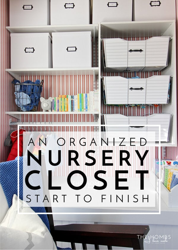 Not sure how to fit everything into your tiny nursery closet? Check out this nursery closet transformation that utilizes every last inch for baby-friendly storage!