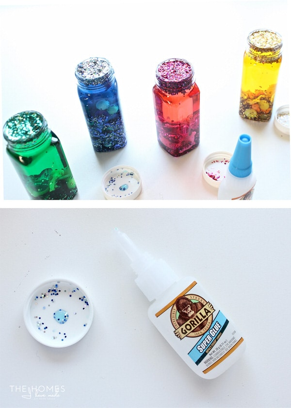 It's fun and easy to make DIY Sensory Bottles for baby using medicine bottles, beads, glitter and water!