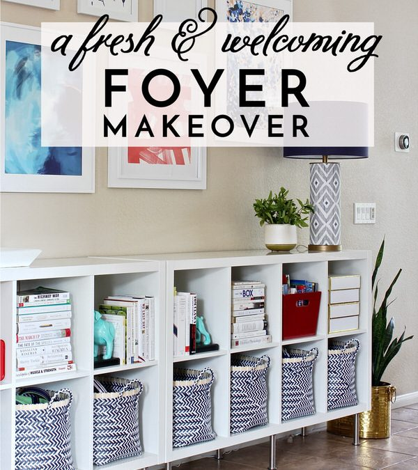 Welcome guests into your home with a light, bright, and happy foyer design. Check out the fresh and easy details that make this foyer makeover so welcoming!