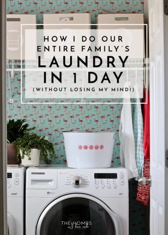 Each family uses a different routine to get the laundry done. I do our entire family's laundry in a single day. Read on to see my tips and tricks for getting it done without loosing your mind!