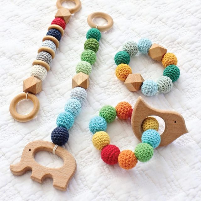 I made a bunch of these adorable bead teethers forhellip