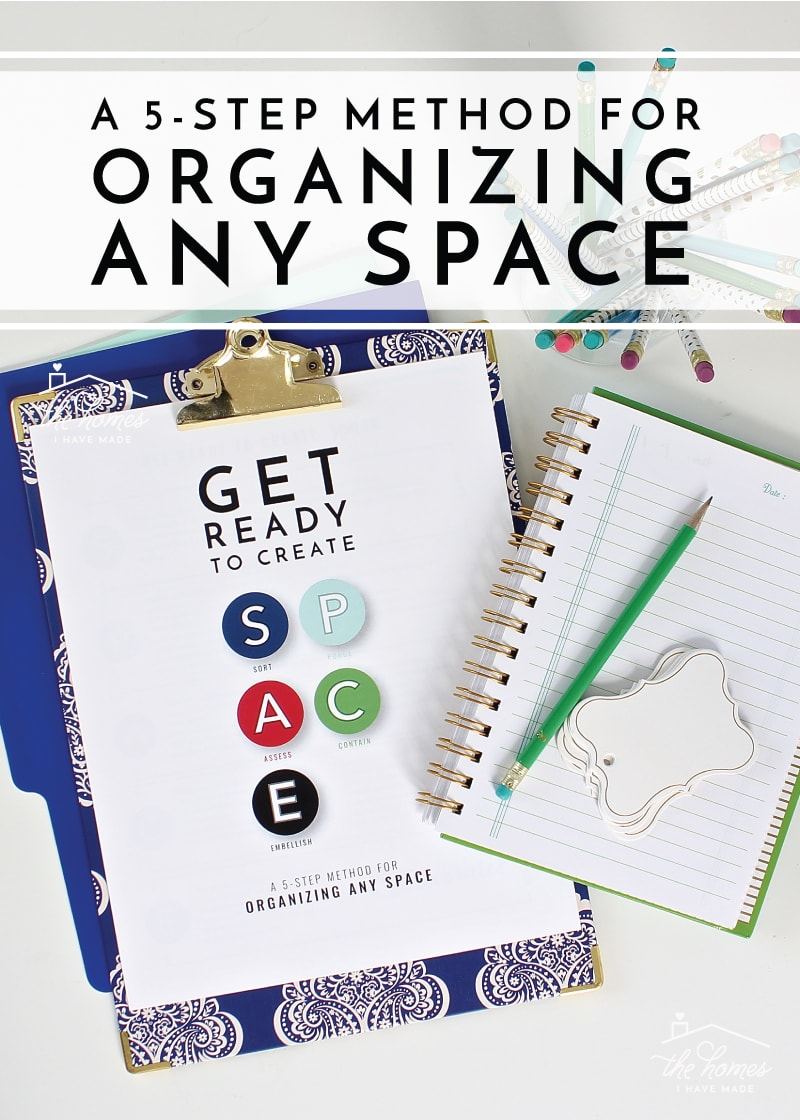 Do you have tons of clutter and no idea how to conquer it? This easy 5-step method for organizing any space will help you cut the clutter and regain SPACE in your home!