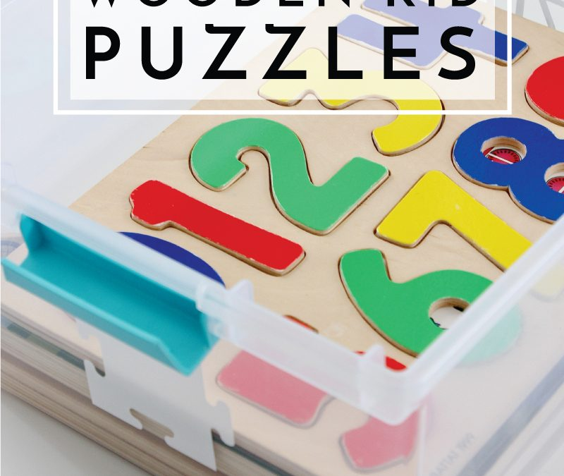 Kids' puzzles can often be bulky and unruly. Check out these smart ideas for organizing wooden kid puzzles!