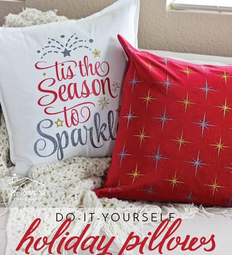 Learn how to make your own Holiday Pillows using affordable heat transfer vinyl from Craftables!