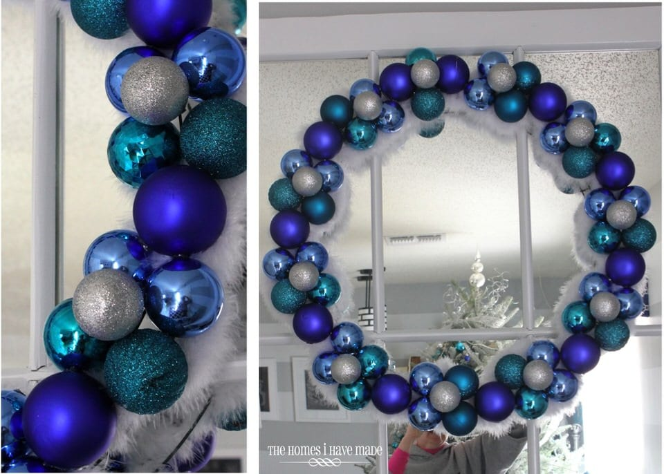 A long time ago, I made a gorgeous turquoise and blue ornament wreath using a wire wreath form, ornaments and hot glue: