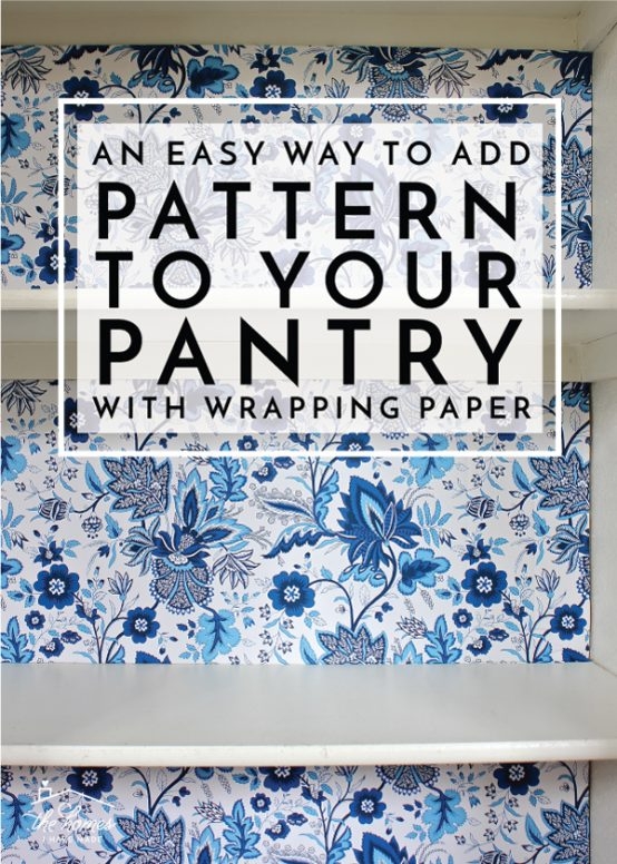 Give your pantry some personality and pizzazz by adding patterned wrapping paper to the back with this easy tutorial.