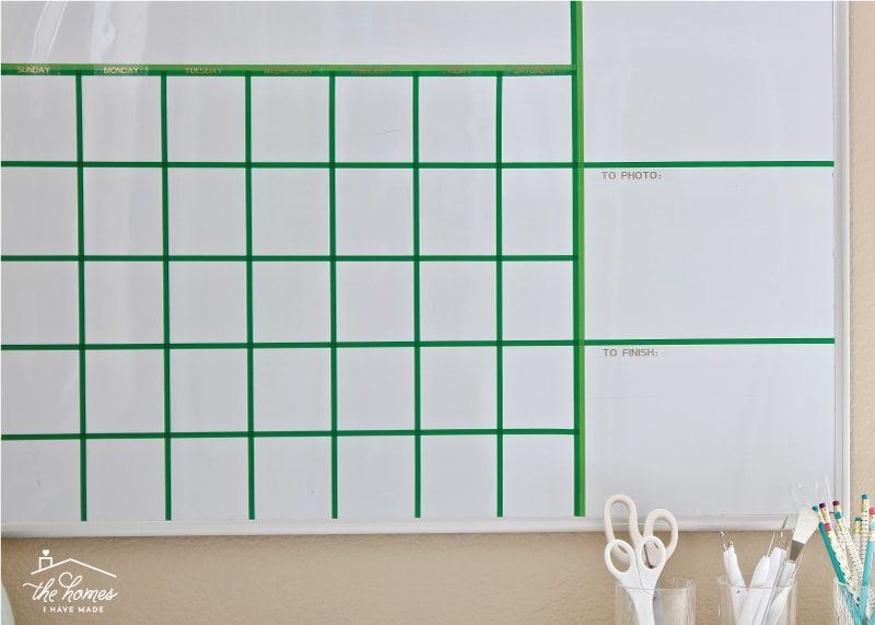Transform any blank dry erase board into a custom calendar perfectly suited for your needs with washi tape!